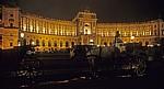 Hofburg: Fiaker vor der Neuen Burg bei Nacht - Wien