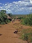 Erosionsrinnen werden von den Bairro-Bewohnern mit Materialien gefüllt - Chimoio