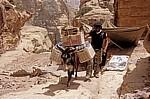 Die Waren für die Bar bei ed-Deir müssen mit dem Esel transportiert werden - Petra