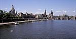 Blick von der Carolabrücke auf Elbe und Innere Altstadt - Dresden