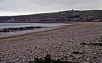 Blick über den Strand auf den Ort - Stonehaven