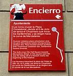 "Hinweistafel ""Encierro"" (Stierlauf)  - Pamplona"