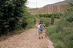 Jakobsweg (Camino Francés): Pilger auf der Römerstraße zwischen Cirauqui und Lorca - Navarra