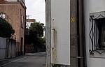 Jakobsweg (Caminho Português): Das gelbe Kreuz zeigt an, daß dies eine Sackgasse ist - Distrito de Porto