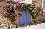 Jakobsweg (Camino Francés): Holztür von Rosen umrahmt - Santa Catalina de Somoza