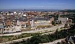Jakobsweg (Camino Francés): Blick vom Castillo de los Templarios auf die Stadt - Ponferrada