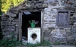 Jakobsweg (Camino Francés): Mit Blumen bepflanzte alte Waschmaschine - Las Herrerías