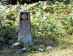 Jakobsweg (Caminho Português): Camino-Wegstein – umlagert von Müll - Pontevedra