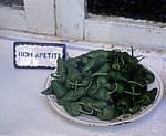 Jakobsweg (Caminho Português): Pimientos de Padrón (Schaufensterauslage) - Padrón