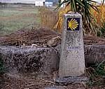Jakobsweg (Caminho Português): Auf dem Weg nach A Escravitude - Camino-Wegstein - Galicia