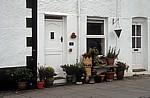 Lower Gate Street: Blumenschmuck vor einem Hauseingang - Conwy