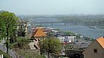Blick vom Burgberg: Starý most (Alte Brücke) über die Dunaj (Donau) - Bratislava