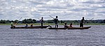 Mekolos (Einbäume) mit Touristen und Guides auf dem Zambezi - Southern Province